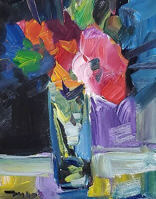 JOSE TRUJILLO OIL PAINTING Abstract Red Flowers Impressionism Still Life Vase