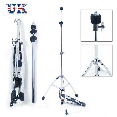 Glarry Professional Double Braced Hi Hat Pedal Control Style Cymbal Drum Stand
