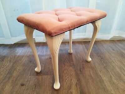 Vintage Sherborne  Dressing Table Stool l Pink Draylon Fabric Queen Anne Legs