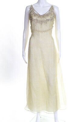 Badgley Mischka Womens Silk Sequined Beaded Spaghetti Strap Gown Yellow Size 10