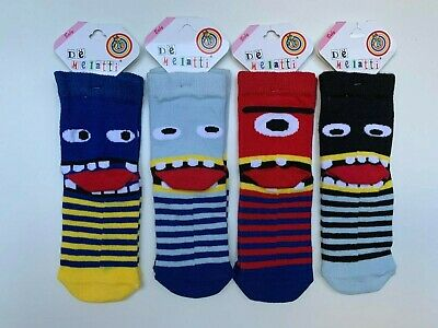 Girls Boys Socks 4 Pairs Novelty Character Childrens Kids Funky Designs