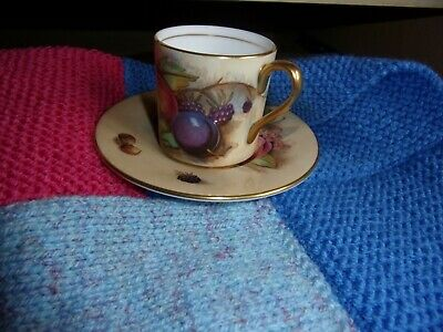 aynsley small fruit coffee/tea cup and saucer signed n brunt no chips/nips etc