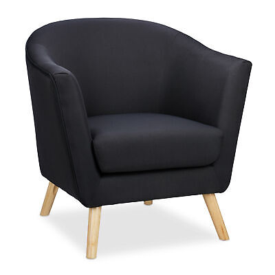 Cocktailsessel schwarz Retro Sessel Clubsessel Stoffsessel Loungesessel Vintage