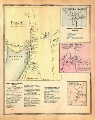 Carmel NY, Mill Town, South East, Towners Station, NY, Antique Map 1867