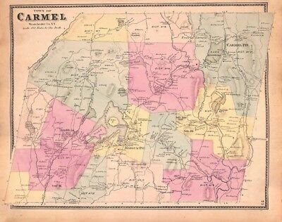 Carmel, Westchester County, NY, New York, Original Vintage Antique Map 1867