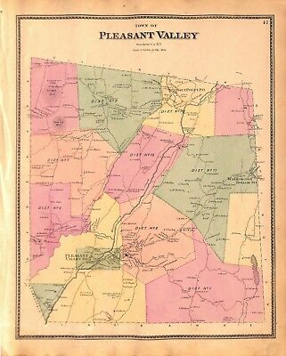 Map of Pleasant Valley, Dutchess County, NY, Original Vintage Antique Map 1867