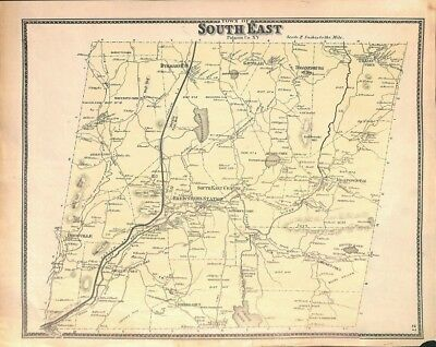 Map of South East, Putnam County, NY, New York, Original Antique Map 1867