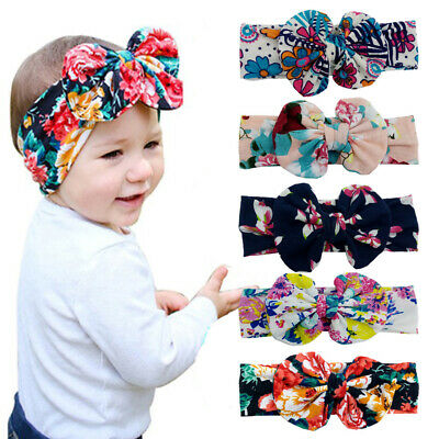 AM_ Bohe Kids Floral Print Bowknot Wide Hair Band Elastic Headband Photo Props N