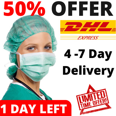 100 PCS Disposable Face Mask Medical Surgical Dental Ear loop Anti-Dust 3-Ply