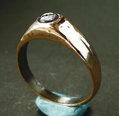 A superb genuine Medieval bronze stirrup ring - wearable