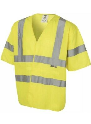 HiVis Yellow Safety Reflective Workwear Vest Short Sleeved Overcoat XL High Viz