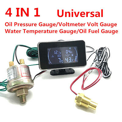 AM_ Universal 4in1 Car Oil Pressure Gauge Voltmeter Water Temp Meter W/Sensor 12