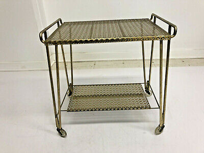 Vintage METAL ROLLING CART mid century modern gold side table stand rack 50s 60s
