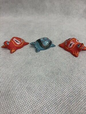 3 Handpainted Wood Turtles Vintage