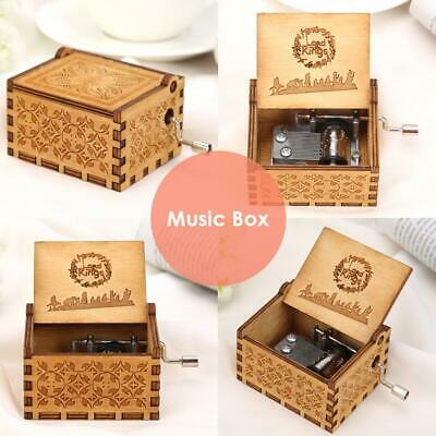 Retro Wooden Hand Cranked Music Box Home Crafts Ornaments Children Birth Gifts