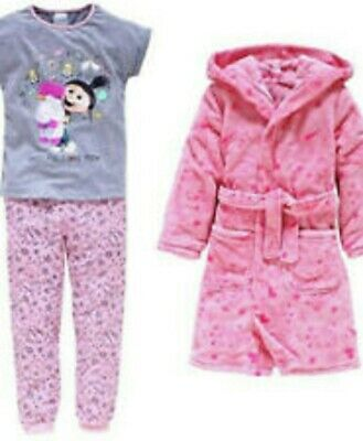 bnwt girls despicable me 3 hooded dressing gown & pyjama set 7-8 yrs