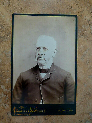 Antique Cabinet Card Photo Older Stern Looking Gent w Long Mustach Piqua OH