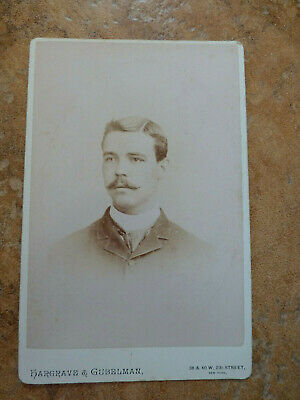 Antique Cabinet Card Photo Sad Looking Young Man New York NY