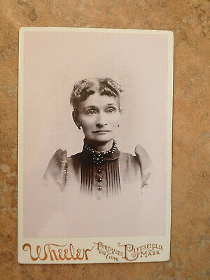Antique Cabinet Card Photo Sad Woman Curls Bead Buttons Pittsfield MA