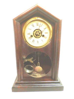 1885 Ingraham Time, Strike & Alarm Shelf Clock--RARE DOUBLE DIE STAMPED MOVEMENT
