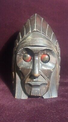 Rolling Eye Indian Mechanical Carved Wood Clock By  Oswald Osuhr. RARE!