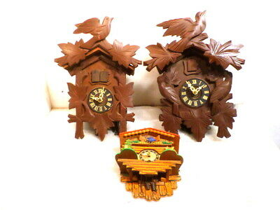 Grouping of 3 Antique Cuckoo Clocks--Parts Or Restoration