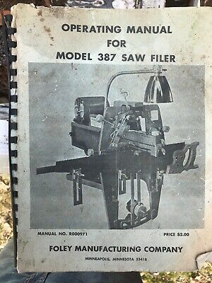 BELSAW Foley 550 Saw Chain Grinder Operator /& Parts Manual 0778