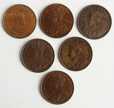 6 Coin Lot 1909-1920 Canada Large Cent Coins 1c Canadian Bronze Wear & Damage