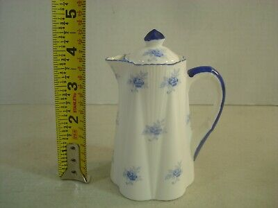 "Shelley Scattered Blue Rose Dainty Miniature Mini Teapot +Lid 4 3/4"" AS IS READ*"