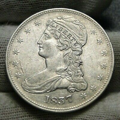 1837 Capped Bust Half Dollar 50 Cents -  Nice Coin Free Shipping (9118)