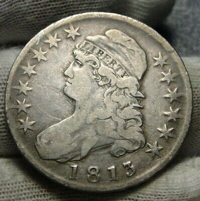 1813 Capped Bust Half Dollar 50 Cents - Nice Coin, Free Shipping (9132)