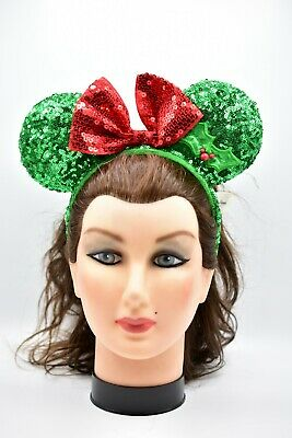Disney Parks Minnie Mouse Ears Red Green Sequin Headband Christmas Holiday Rare