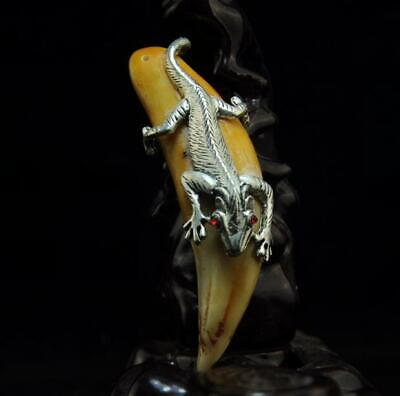 Collect Chinese Old Tooth Inlay Tibet Silver Lizard Amulet Pendant A02