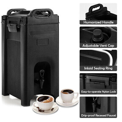 Insulated Beverage Server/Dispenser 5 Gallon Hot & Cold Drinks w/Handles Black