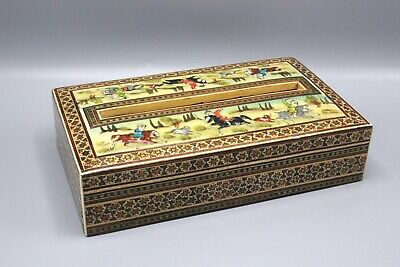 Persian Khatam Inlaid Marquetry Wood Tissue Box Holder w/Hand Painted Scenes
