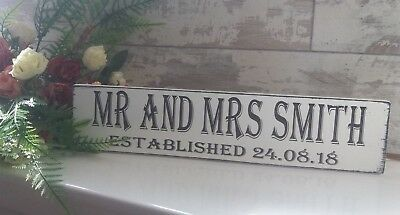 Rustic Top Table Personalised Mr & Mrs Established Plaque wooden sign