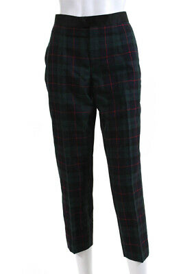 Undercover Womens Plaid Trousers Dress Pants Green Black Red Wool Size 3