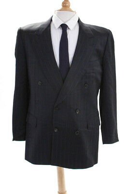 Gieves & Hawkes Mens Wool Pinstripe Double Breasted Blazer Black Size 42