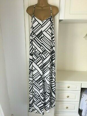 """Red Herring size uk 14  lined navy blue/white maxi dress in vg con bust 38"""""""
