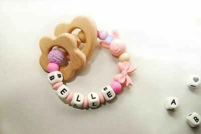 Baby Silicone Ring - Personalised Teething Rattle -- Chew Beads