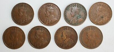 8 Coin Lot 1916 1918 1919 Canada Large Cent Coins 1c Canadian Pennies You Grade