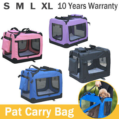 Dog Cat Pet Puppy Fabric Portable Carrier Folding Crate Travel Bag Cage Foldable