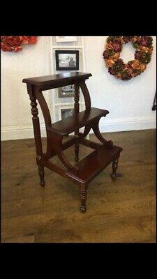 vintage,mahogany,library steps,three steps,kitchen,steps,step stool,library,step