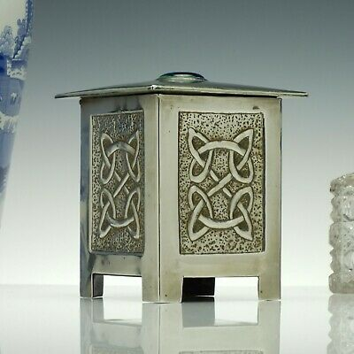 Arts And Crafts Pewter Box with Ruskin Stone c1920