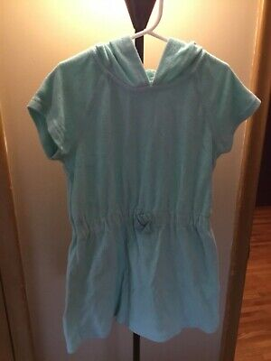 Hanna Andersson girls light turquoise hooded pullover swim coverup size 110