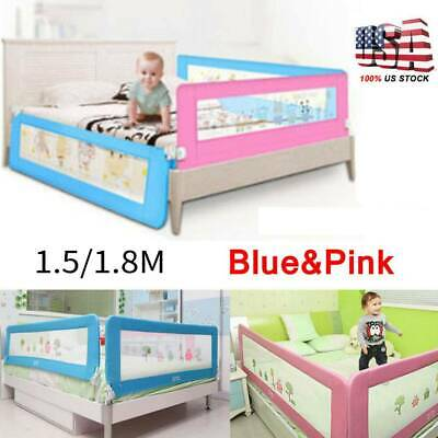"59""/71"" Foldable Toddler Bed Rail Baby Crib Side Safety Guard Kid Infant Bedrail"