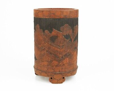 Antique / vintage Chinese carved bamboo brush pot