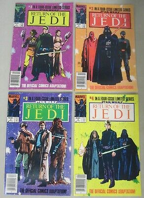 Star Wars Return Of The Jedi #1-4 Newsstand Variants Marvel Comics 1983 Set