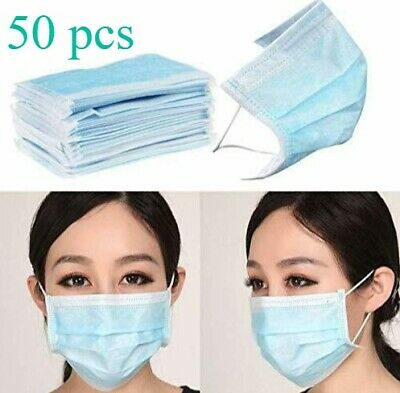 50 Pcs Disposable Surgical Face Medical Mask Blue / Green 3-ply Virus Protection