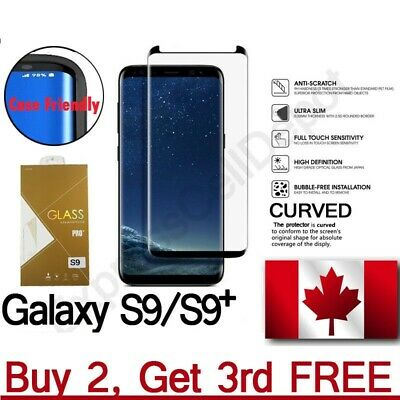 Samsung Screen Protector Full Case Tempered  Friendly Curved Glass Galaxy S9+
